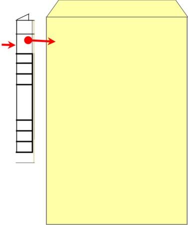 ラベルを角2封筒へ貼り付け